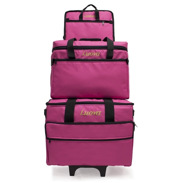 "Luova 19"" 3 Piece Rolling Sewing Machine Trolley Set in Pink"