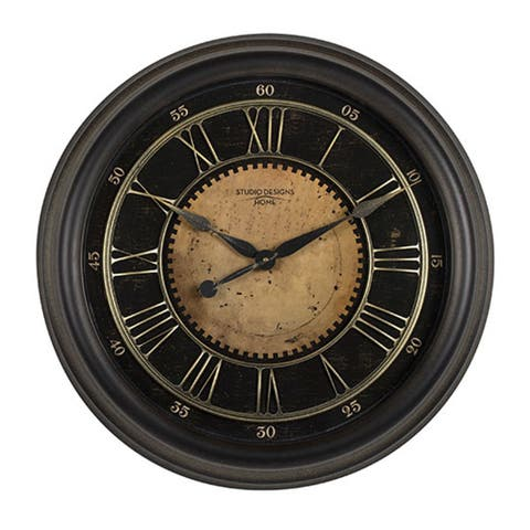 "Offex Home 24"" Classic Villa Wall Clock in Antique Bronze - 24""W x 24""D x 3.5""H"