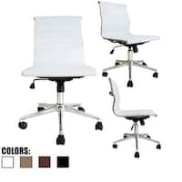 2xhome White Mid Back Leather Office Chair White Armless With Wheels Conference Room Tilt Guest Work Task Executive Swivel