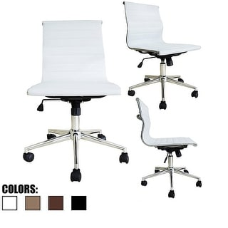 2xhome White Mid Back Leather Office Chair White Armless With Wheels Back  Conference Room Tilt Guest