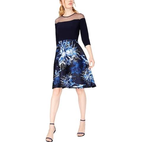 R & M Richards Womens Petites Cocktail Dress Illusion Elbow Sleeve - Navy