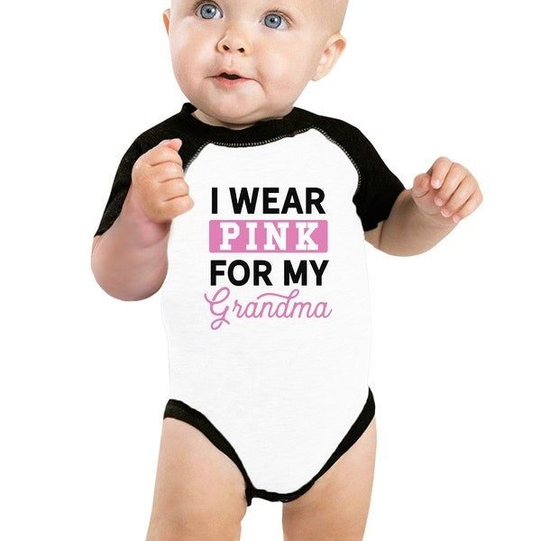 I Wear Pink For My Grandma Baby Baseball Bodysuit For Cancer Support