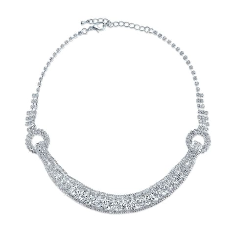 Deco Style Wedding Prom Crystal Choker Collar Statement Necklace
