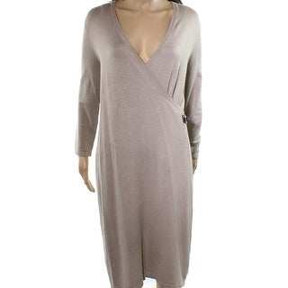 Calvin Klein NEW Beige Women's Size Large L Buckle Knit Sweater Dress