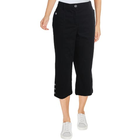 Karen Scott Womens Capri Pants Tummy Slimming High Rise - Black - 6