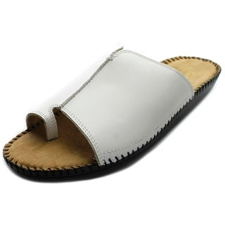 Auditions Sprint Women WW Open Toe Leather White Slides Sandal