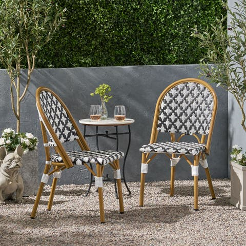 Louna Outdoor French Bistro Chair (Set of 2) by Christopher Knight Home