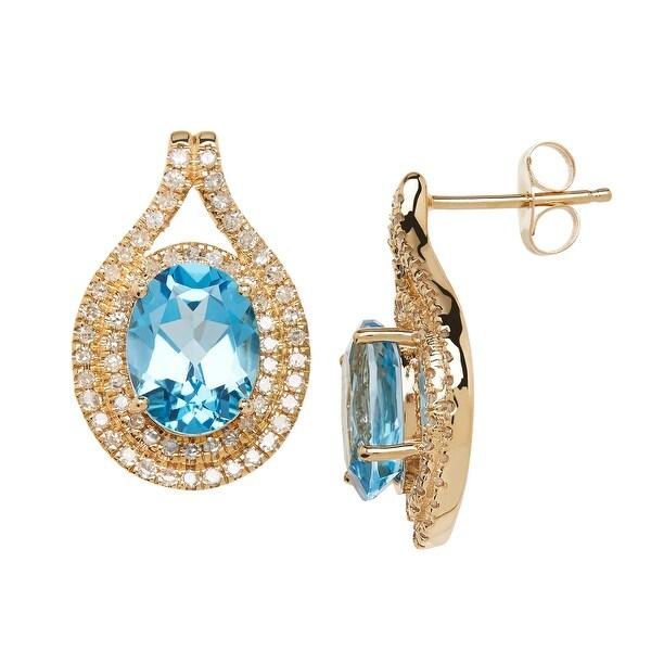 4 1/4 ct Natural Swiss Blue Topaz & 1/2 ct Diamond Earrings in 14K Gold