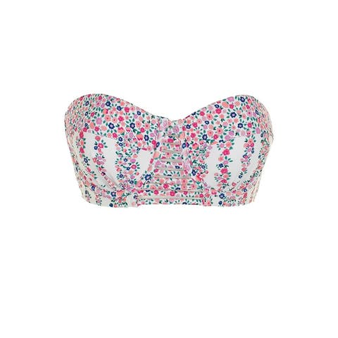 Sundazed White Pink Floral Print Abigail Bra-Sized Underwire Bikini Top 34C