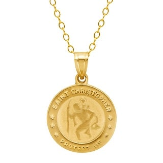 Just Gold St. Christopher Medallion Pendant in 10K Gold - Yellow