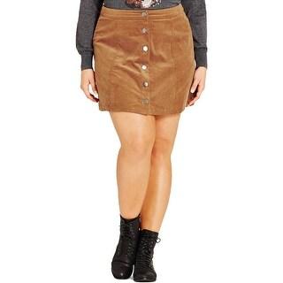 City Chic Womens Plus Mini Skirt Corduroy Button Front - 24