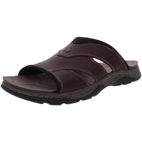 Dr. Scholl's Mens Harris Flat Sandals Leather Slip On - Brown