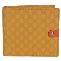 """Gucci Men's 282023 Yellow Leather Micro GG Guccissima Bifold Wallet W/Coin - 4.25"""" x 4"""""""