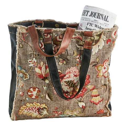 "FLORIANA Women's Vintage Floral Print Canvas Tote Bag Purse Handbag, 15""x15""x4"" - Brown - One size"