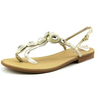 White Mountain Glow Women Open Toe Leather Gold Sandals