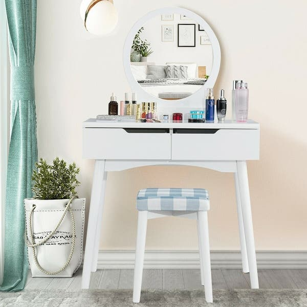 Shop Gymax Bedroom Vanity Set Dressing Table & Cushioned ...