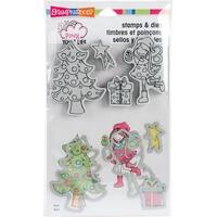 "Stampendous Pink Your Life Stamp & Die Set 9""X5.25""-Whisper Friends-Decorate"