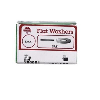 Hillman 280054 Flat Washers, Zinc Plated Steel, # 10