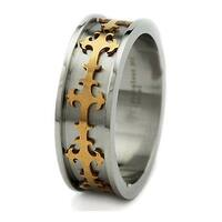 Stainless Steel Ring with Gold Plated Cross Cut-out Design 8mm (Sizes 7-13)
