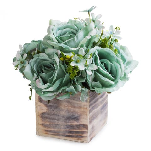 Enova Home Mixed Rose Flower Arrangement in Natural Wood Planter For Home Decoration