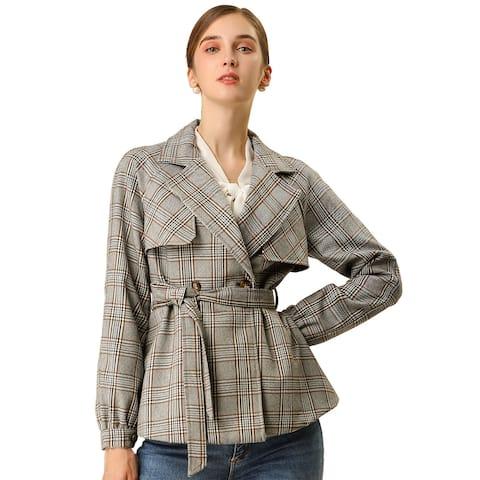 Women's Double Breasted Belted Plaid Jacket Outwear Checks Blazer - Gray Khaki