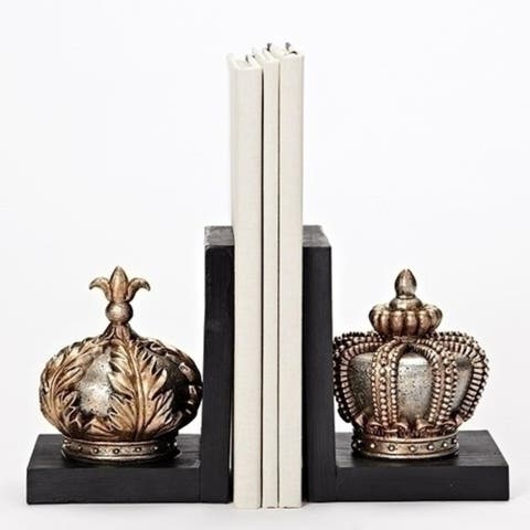 """Set of 2 Gold Colored Distress Finish Crown Bookends 7.75"""""""