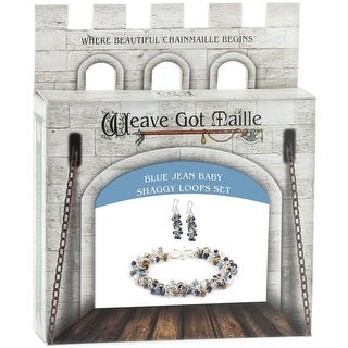 Chainmaile Bracelet & Earrings Jewelry Kit-Blue Jean Baby/Blue Denim