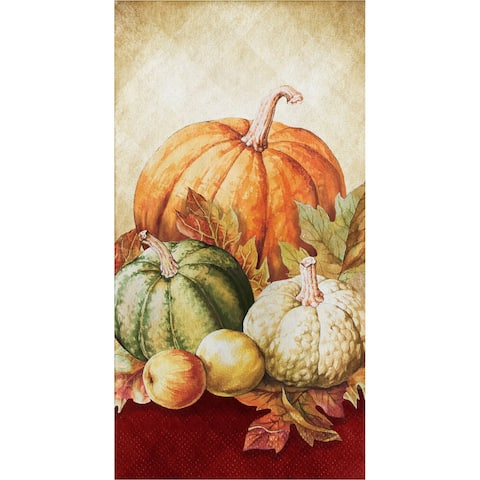 "Club Pack of 192 Beige and Orange 3-Ply Thanksgiving Themed Rectangular Guest Towels 15.5"" - N/A"