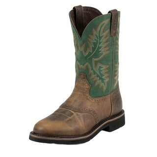 Justin Work Boots Mens Stampede Round Toe Western Tan Green WK4670