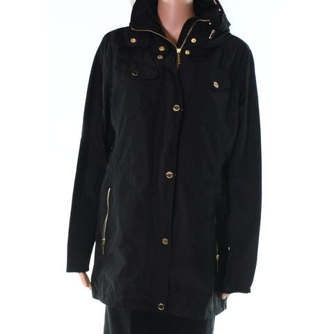 MICHAEL Michael Kors Black Womens Size Medium M Full Zip Coat