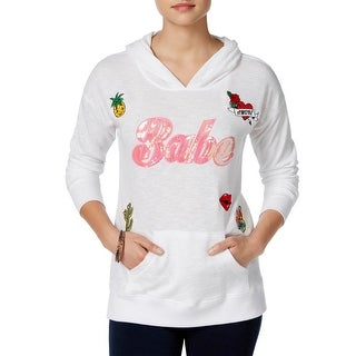 Miss Chievous Womens Juniors Hoodie French Terry Embellished