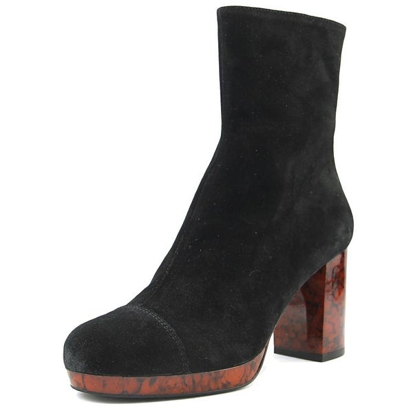Free People Liquid Gold Platform Boot Women Round Toe Suede Black Ankle Boot