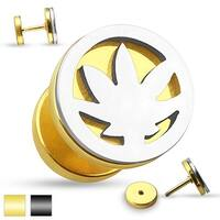 Pot Leaf Cut Out Two Tone Fake Plug 316L Surgical Steel (Sold Ind.)