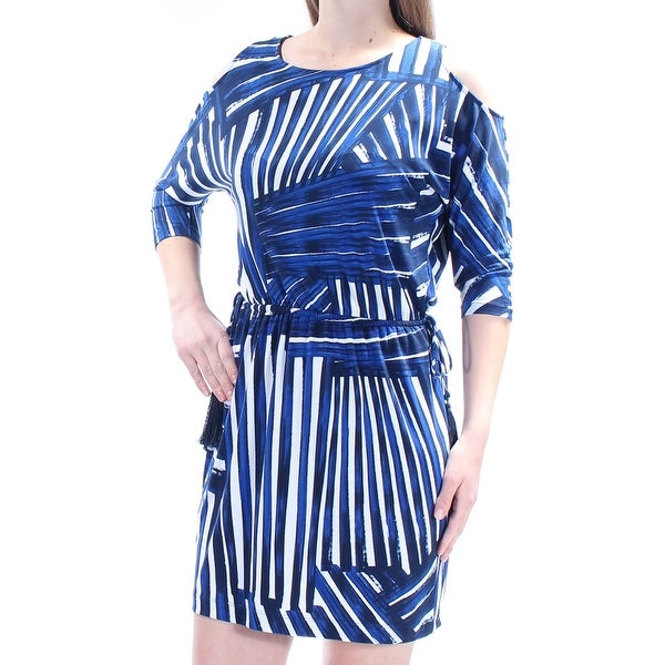 d597360e071 Shop CALVIN KLEIN Womens Blue Tie 3 4 Sleeve Jewel Neck Mini Sheath Dress  Petites Size  10 - On Sale - Free Shipping On Orders Over  45 - Overstock -  ...