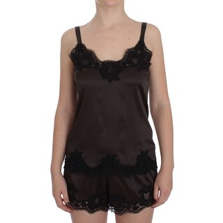 Dolce & Gabbana Brown Silk Stretch Lace Lingerie Top