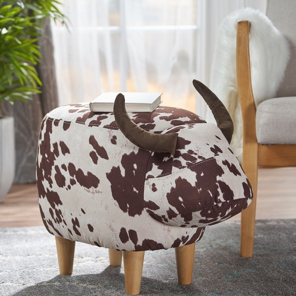 Bessie Fabric Cow Patterned Ottoman by Christopher Knight Home