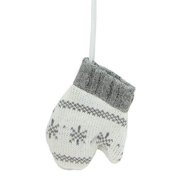 """6.25"""" Alpine Chic Dark Gray and White Houndstooth and Snowflake Patterned Double Mitten Decoration"""