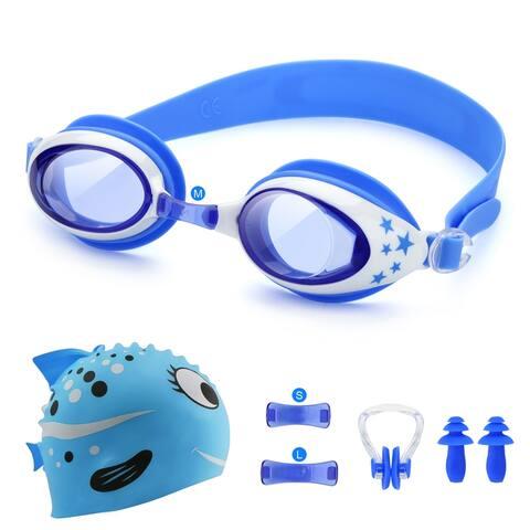 Odoland 5-In-1 Swimming Goggles Set for Kids Anti Fog UV Protection Goggles