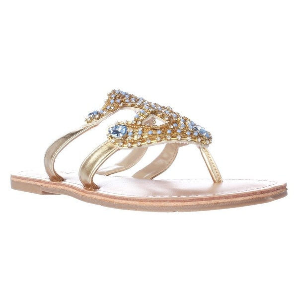 Dolce by Mojo Moxy Ahoy Jeweled Anchor Flat Sandals, Gold - 6 us