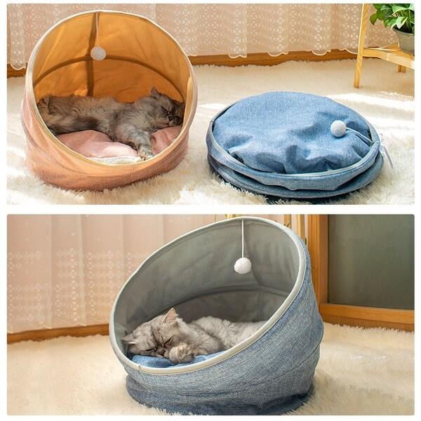 """Folding soft Cashmere Imitation linen Short plush CAT bed bule - 17.7""""x17.7""""x16.9"""". Opens flyout."""