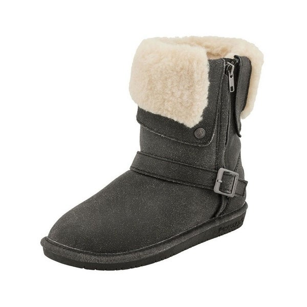 Bearpaw Boots Womens Madison Suede Faux Leather Zipper Buckle