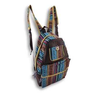 Bohemian Striped Cotton Padded Multipurpose Backpack
