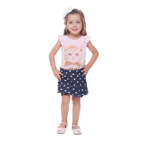 Toddler Girl Outfit Graphic Shirt and Polka Dot Shorts Set 1-3 Years