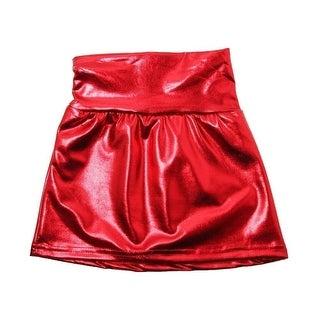 Little Girls Red Metallic Shine Stretchy Lightweight Soft Skirt 3T-5