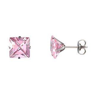 Princess Cut Pink CZ Earrings Stainless Steel Surgical Mens Ladies Cubic Zirconia