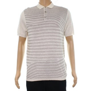 Alfani Beige Mens Size Small S Striped Polo Rugby Silk Shirt
