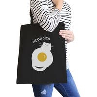 Meowgical Cat Canvas Tote Bag Heavy Cotton Black Cat Lady Gifts