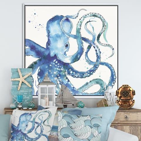 Designart 'Blue Deep Sea VIII' Coastal Framed Canvas - Blue
