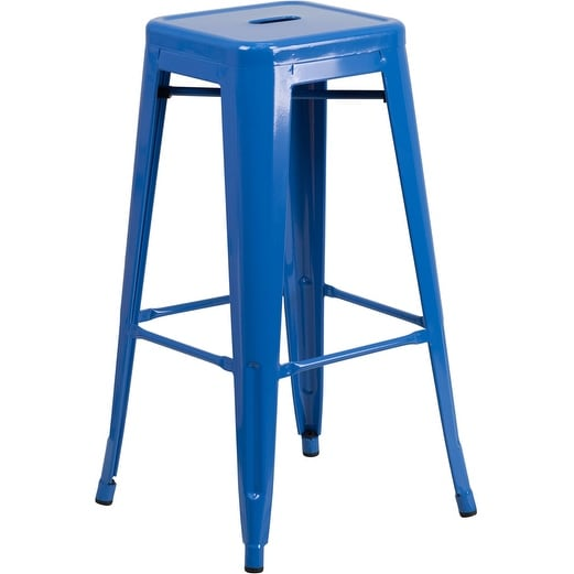 Collins 30'' High Backless Blue Metal Indoor/Outdoor/Patio/Bar Barstool w/Square Seat