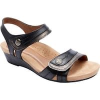 Rockport Women's Hollywood 2 Piece Sandal Black Leather